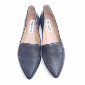 Steve Madden Black Leather Loafers Size 5.5